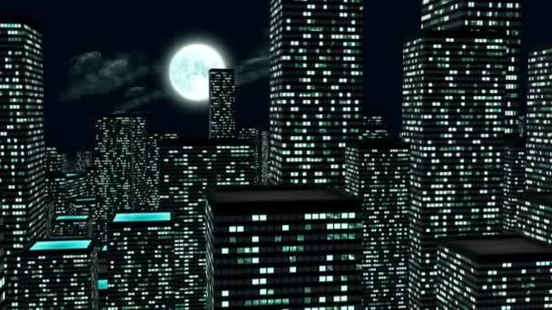 logo města noci. 3D animace