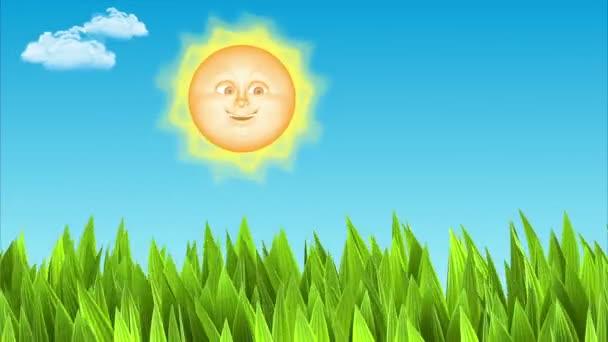 slunce  měsíc. vítr v trávě. 3D animace
