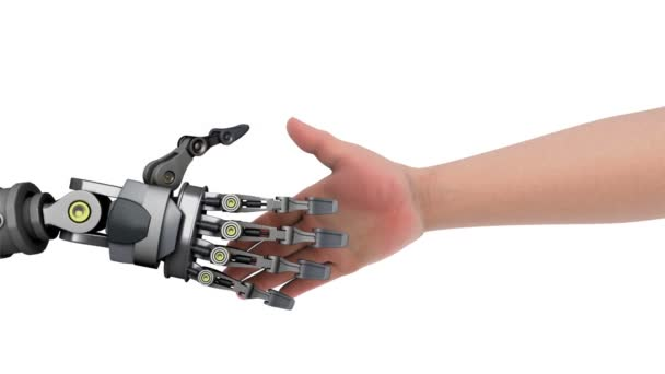 Shake hands with a robot.