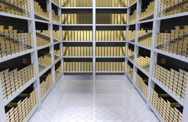 Shelves with gold