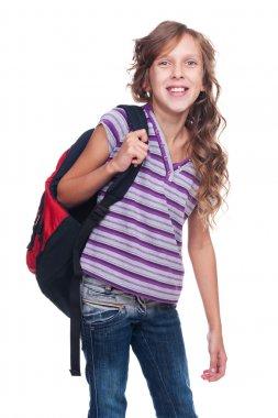 excited pupil holding knapsack