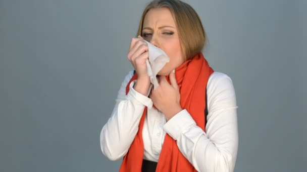 Woman coughing and sneezing