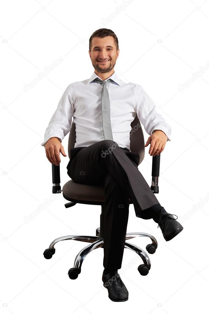 Homem Sentado Na Cadeira Do Escrit 243 Rio E A Sorrir