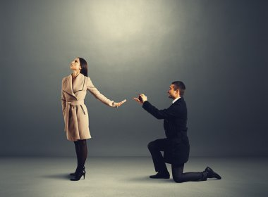 man making proposal of marriage the woman