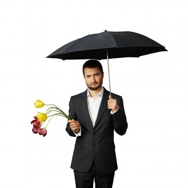 Sad man with faded flowers standing under umbrella. isolated on white background stock vector