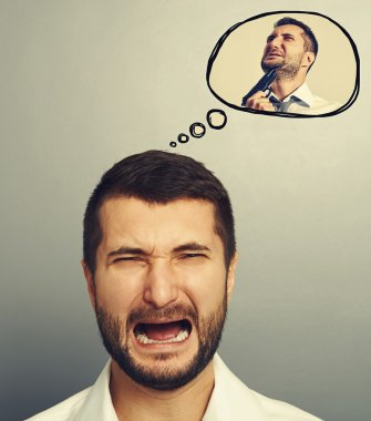 screaming man with speech balloon