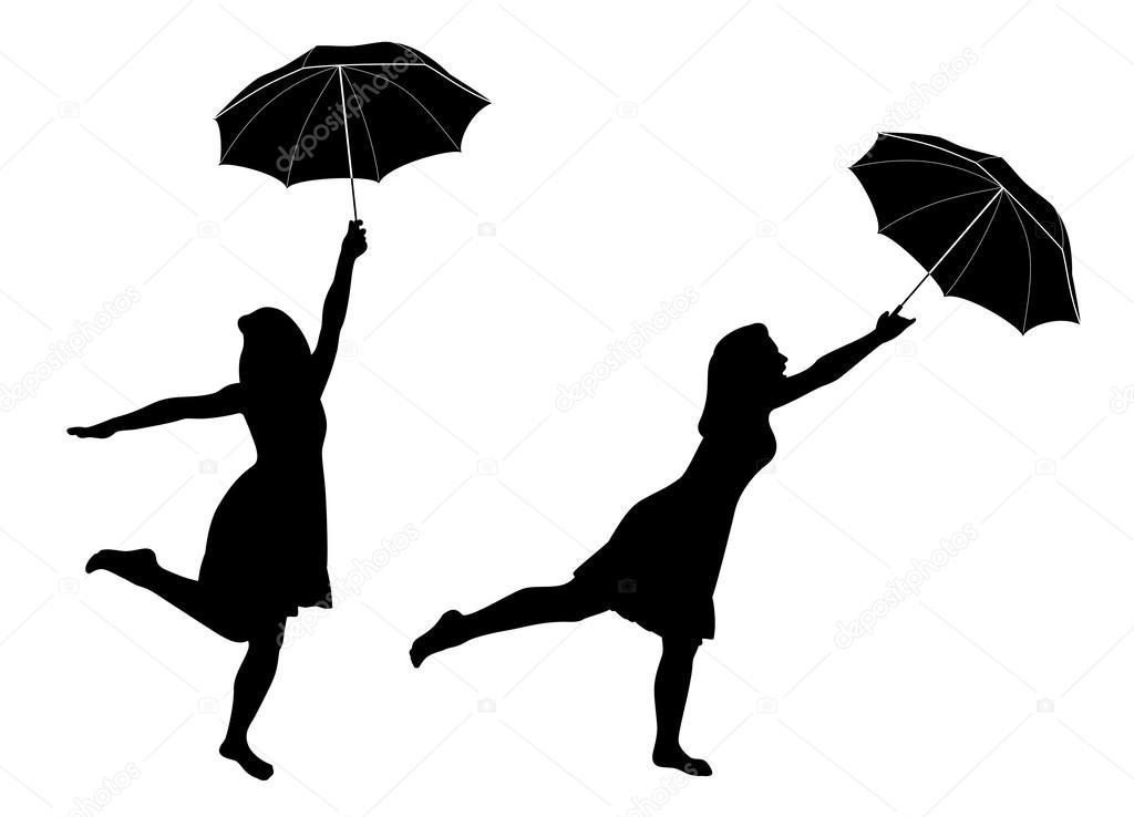 Siluetas De Niña Con Paraguas