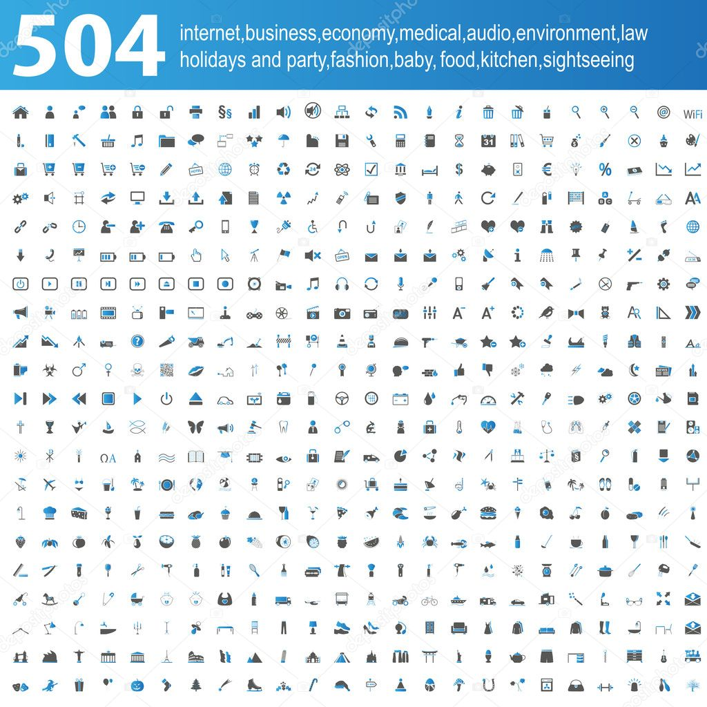 504 blue and grey Icons