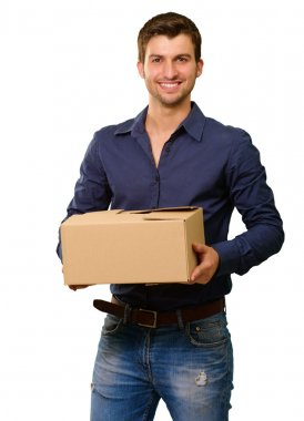 A Young Man Holding Cardboard Box