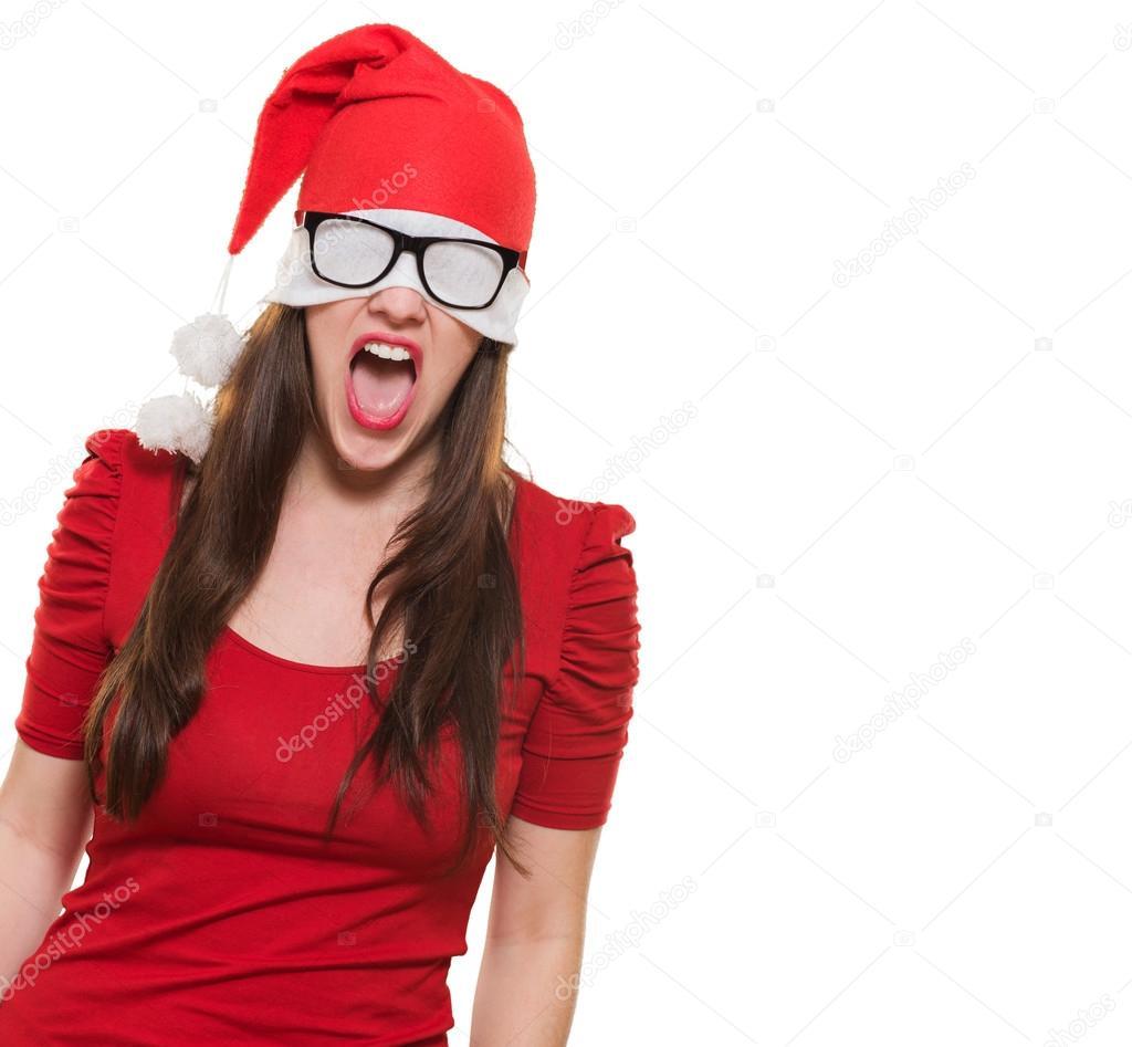 c915c744acb1f Mujer enfadada Navidad con un sombrero y gafas cubriendo sus ojos — Fotos  de Stock