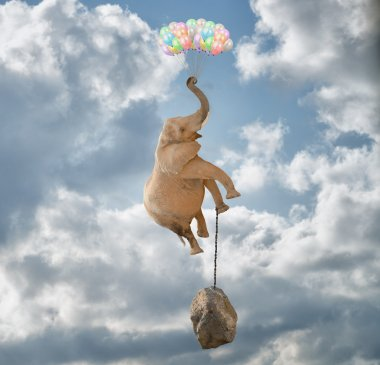 Elephant Flying With Balloons and with a stone tied to his leg stock vector