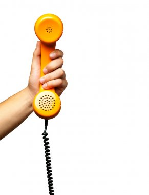 Close Up Of Hand Holding Telephone