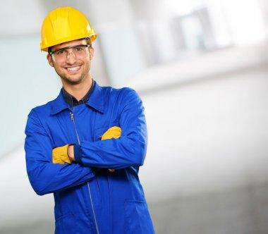 Portrait Of Happy Engineer, Indoors stock vector