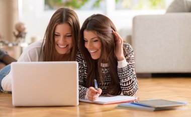 Two Happy Women Looking At Laptop