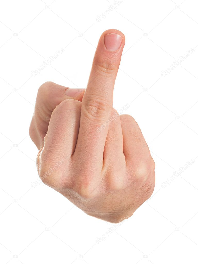 Human Hand Gesturing With Middle Finger