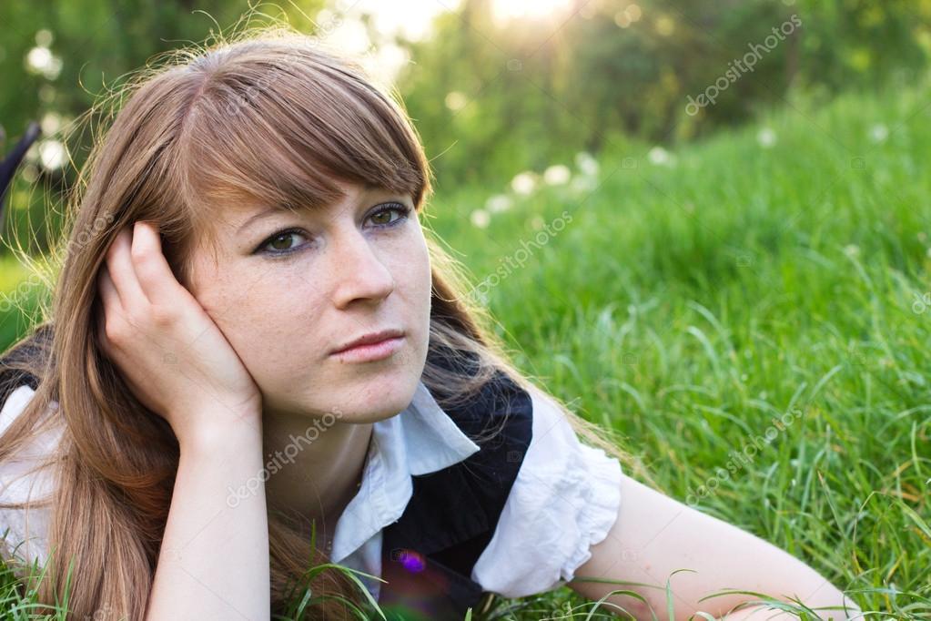 Single woman relaxing outdoor