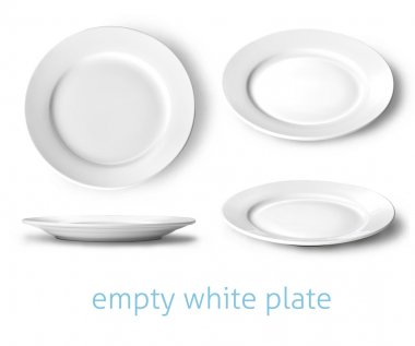 Set of empty white plate on the white background stock vector