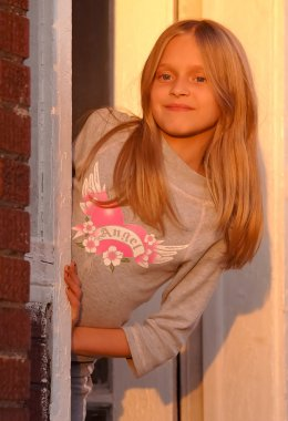 Pre Teen Girl on Front Porch