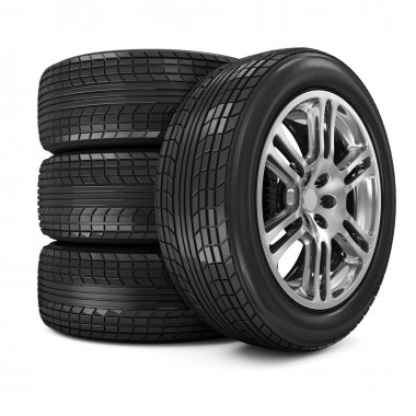 Stack of Car Wheels isolated on white background