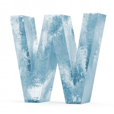 Icy Letters isolated on white background (Letter W)