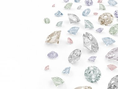 Colorful Diamonds isolated on white background with place for your text