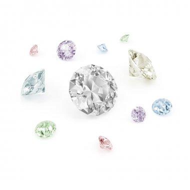 Colorful Diamonds isolated on white background