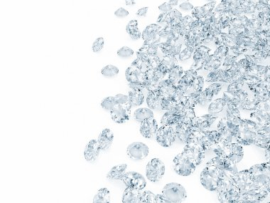 Blue Diamonds on white background with place for your text
