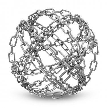 Abstract Sphere Made From Silver Chains on white background