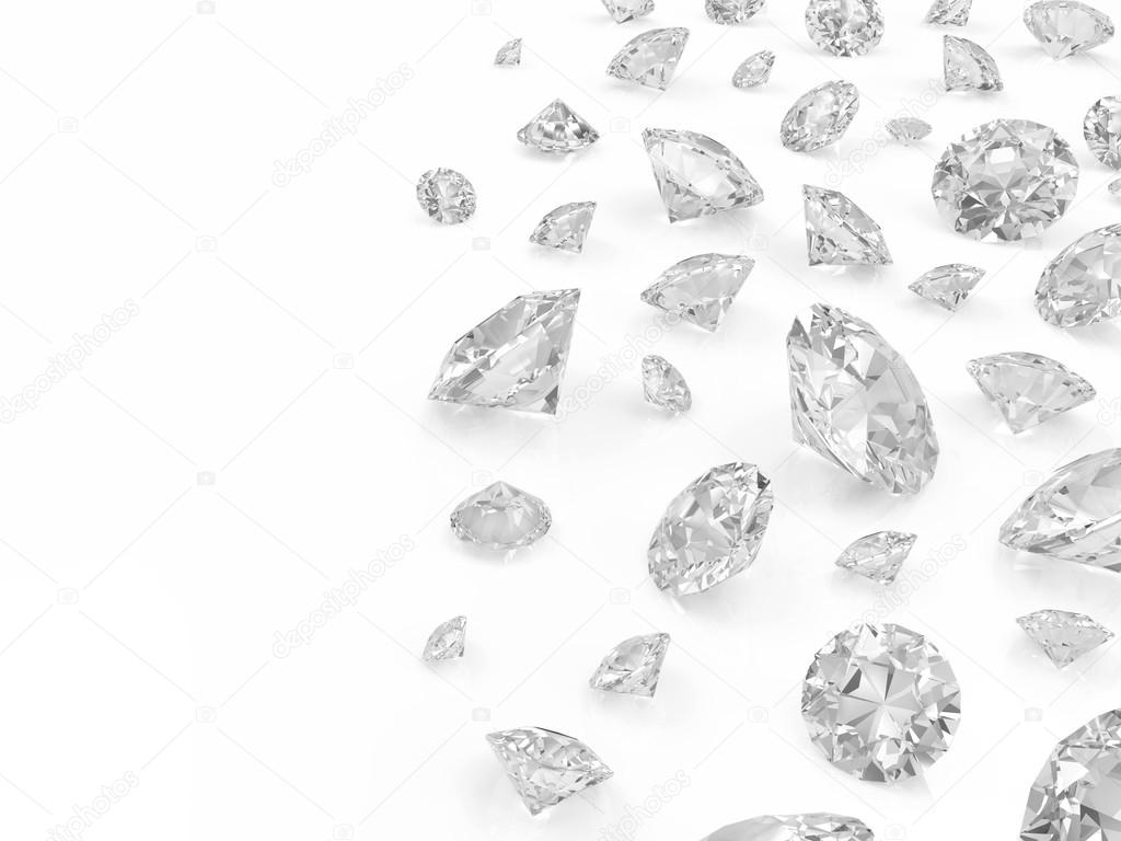 Diamonds isolated on white background with place for your text