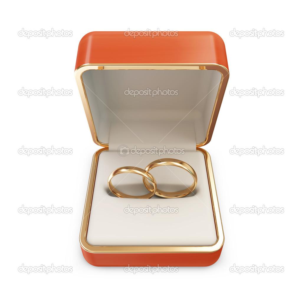 Goldene Hochzeit Ringe In Einer Box Die Isoliert Auf Weissem