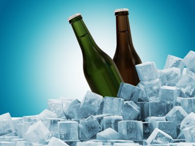 Bottles of Beer in Ice Cubes on blue background
