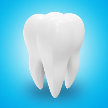 Tooth on blue background
