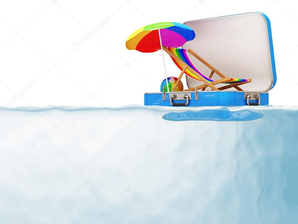 Suitcase with Vacation Accessories in Water isolated on white background