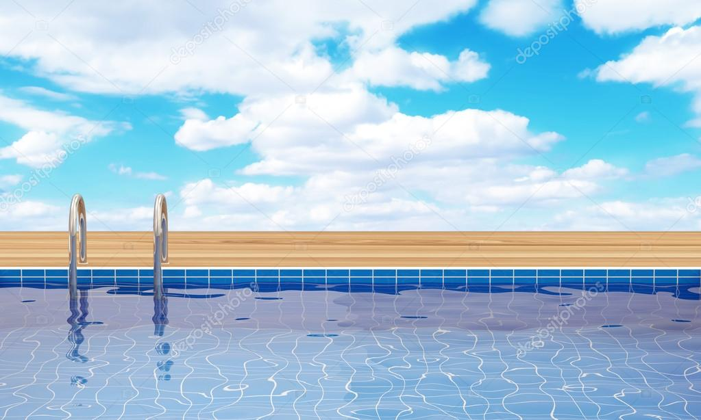 Swimming Pool with beautiful clouds behind