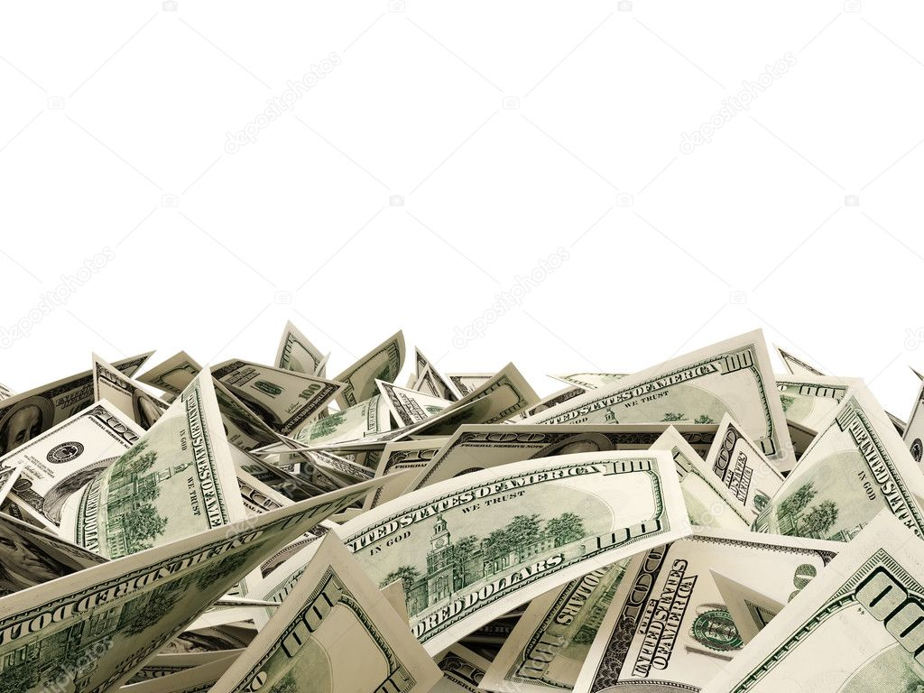 Heap of Dollar Bills isolated on white background with place for your text