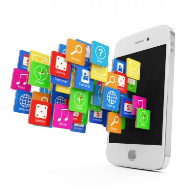 White Smartphone with Cloud of Application Icons isolated on white background