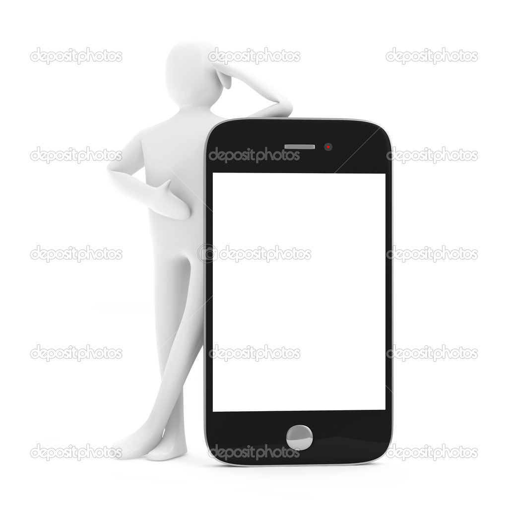 3d Uomo Con Vuoto Telefono Intelligente Isolato Su Sfondo Bianco