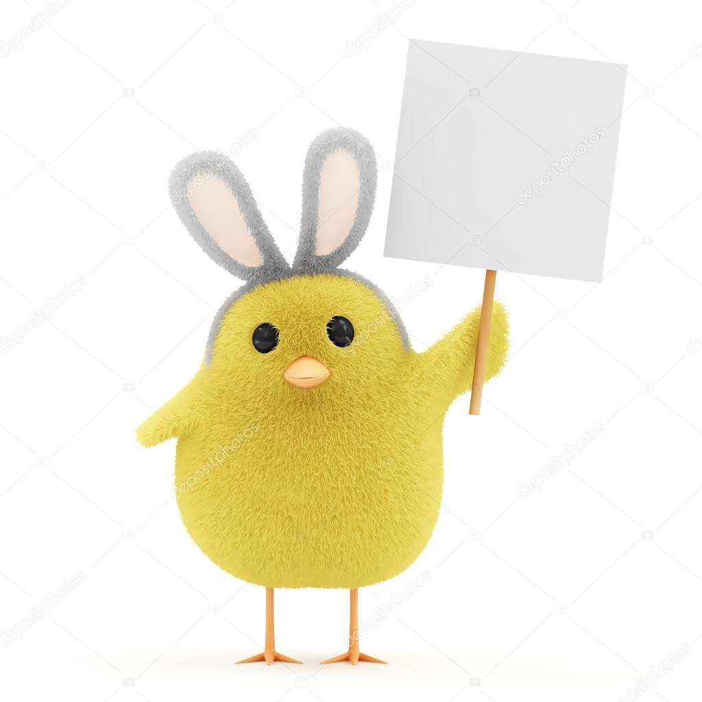 18d03dd60f9 Πάσχα λίγο κοτόπουλο με λαγουδάκι αυτιά και κενό πίνακα — Φωτογραφία Αρχείου