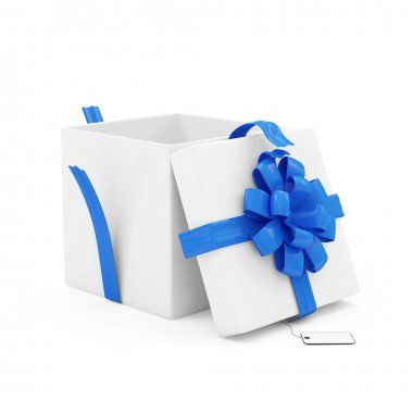 Opened Gift Box with blank isolated on white background