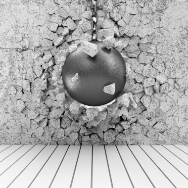 Abstract Illustration of Concrete Wall Broken by Wrecking Ball