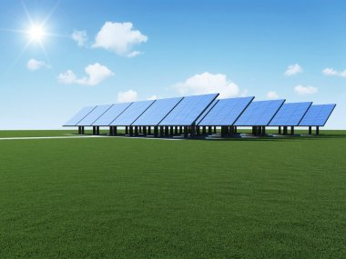 Modern Solar Panels on beautiful green grass with sun and clouds. Alternative Energy Concept