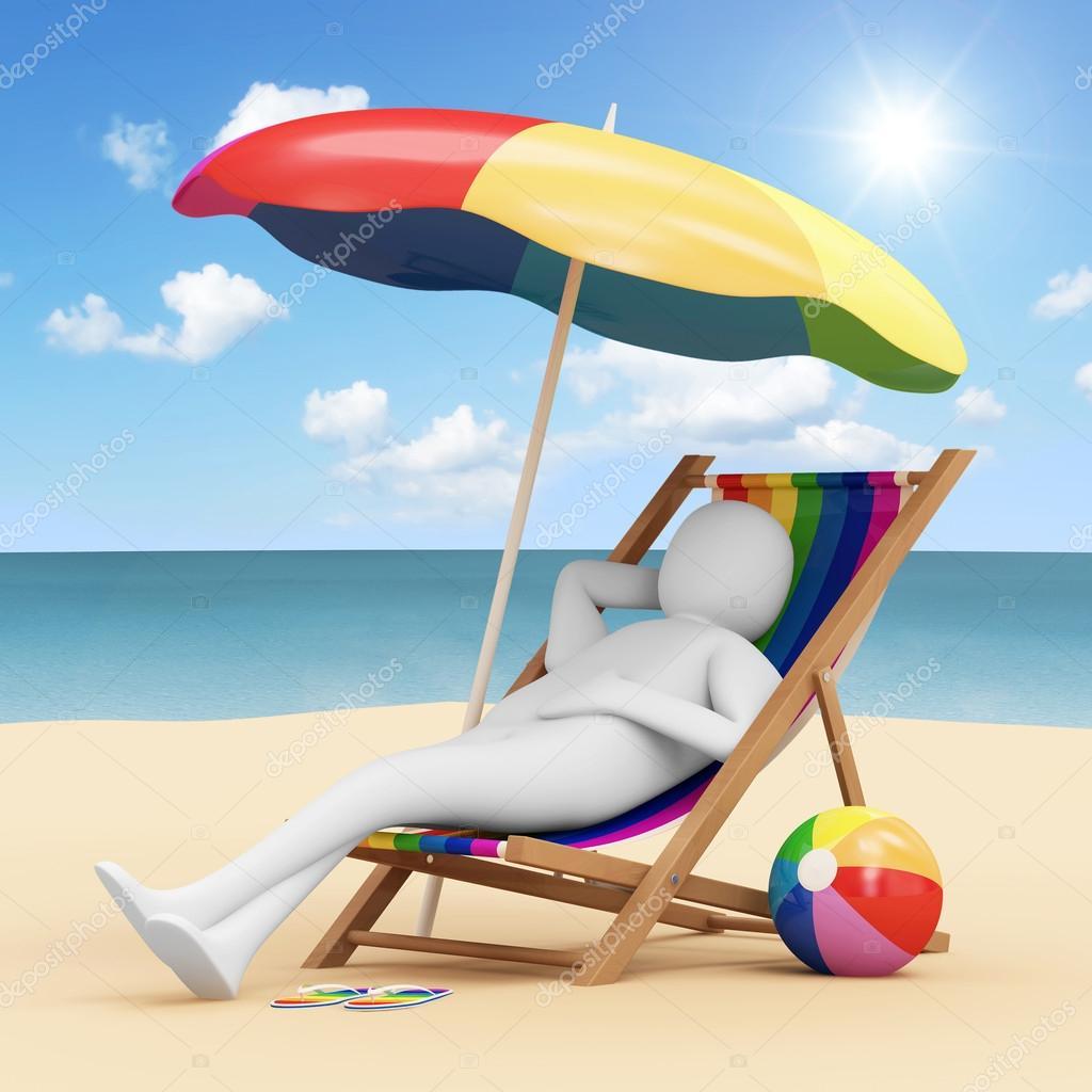3d mann liegt auf einem liegestuhl mit sonnenschirm und verschiedenem zubeh r f r urlaub am meer. Black Bedroom Furniture Sets. Home Design Ideas