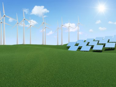 Windmill and Solar Panels on beautiful landscape background with clouds and sun. Alternative Energy Concept