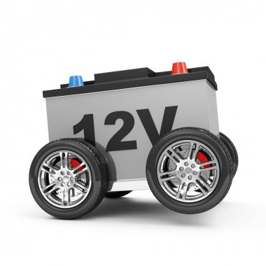 Car Battery on Wheels isolated on white background