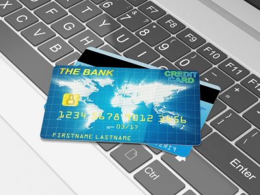 Close-up illustration of Modern Laptop and Credit Cards.