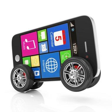 Smartphone on Wheels isolated on white background