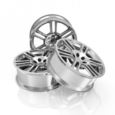 Group of Car Alloy Rims isolated on white background