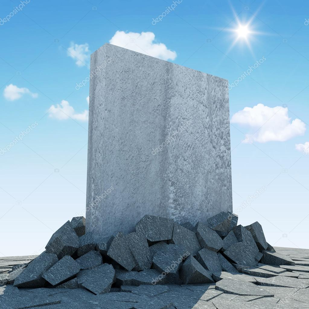 Abstract Illustration of Solid Concrete Block Breaking Through from Ground