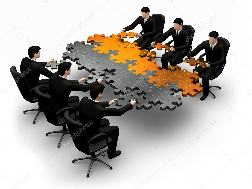 Team building a puzzle
