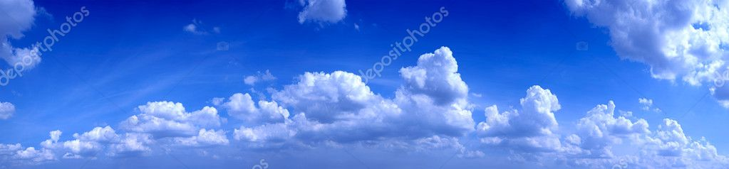 Panoramic photo of blue sky